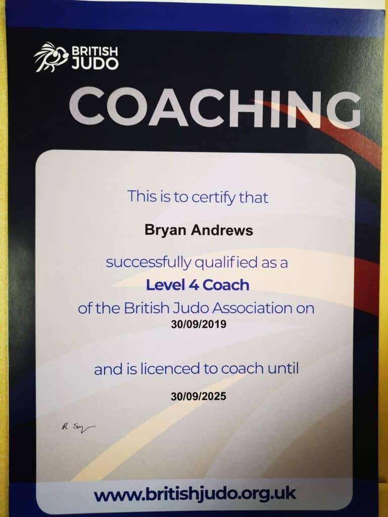 BJA Coach, British Judo Coaching qualification, Level 4 coach, UKCC