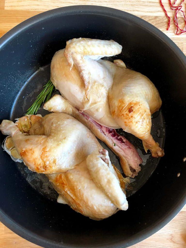 Spatchcock medium chicken in 4 L remoska