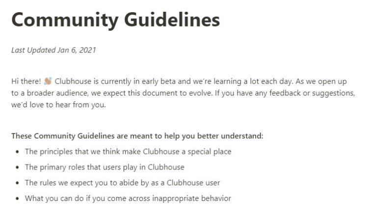 clubhouse community guidelines-k89design-agenzia-di-comunicazione-a-padova