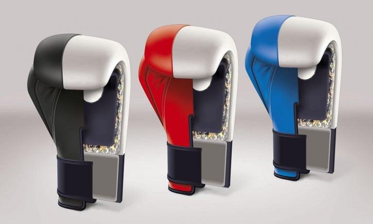 Darstellung der verschiedenen Polsterungen in einem Boxhandschuh
