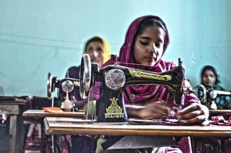 Bangladeshi women sewing clothes