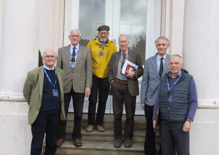 Leighton Park's Glider Crew reunite outside doors