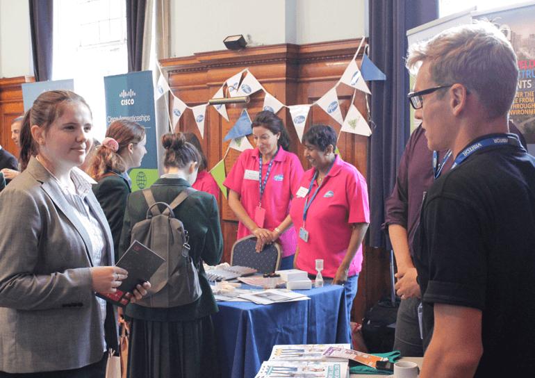 Pupil talking to exhibitor at Big Bang STEAM Careers Fair 2019