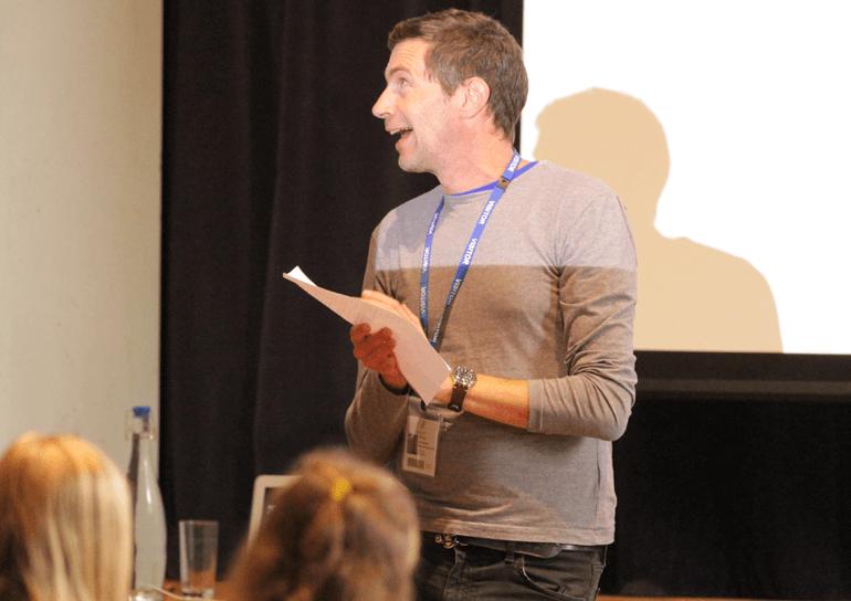 Leighton Parks Patron of reading, Julian Sedgwick, presenting to pupils