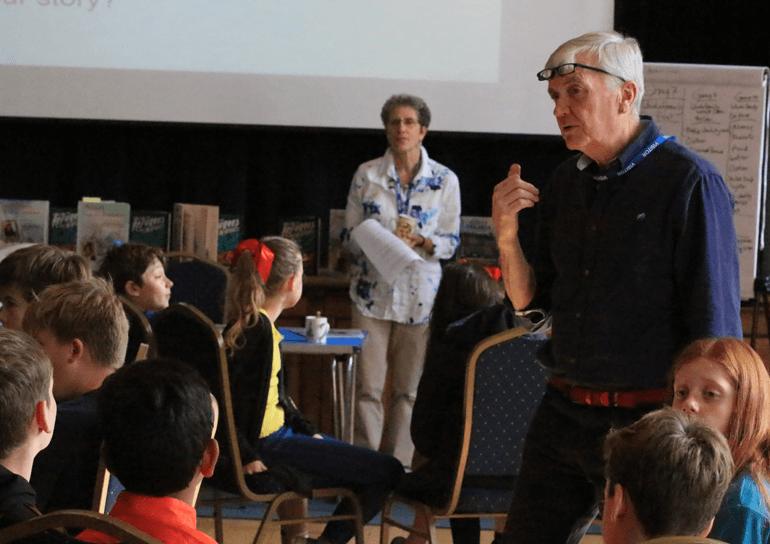 Leighton Park pupils listening to speaker at Quaker Schools Week 2018