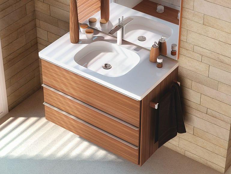 Установка раковины с тумбой в ванной