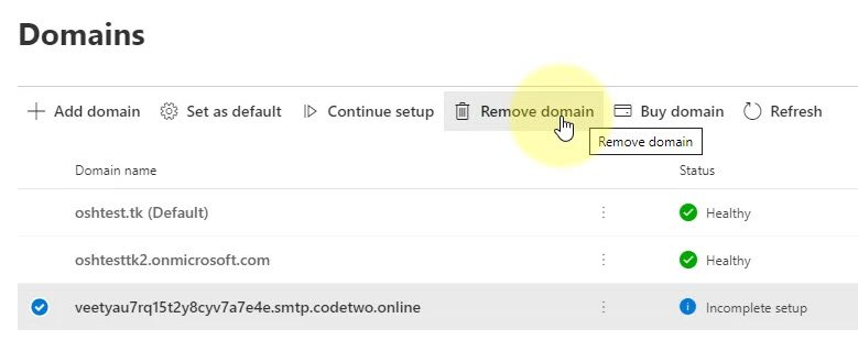 Office 365 Admin Center - Domains - Remove CodeTwo Domain