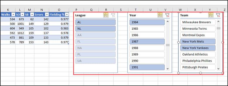 Excel slicers example.