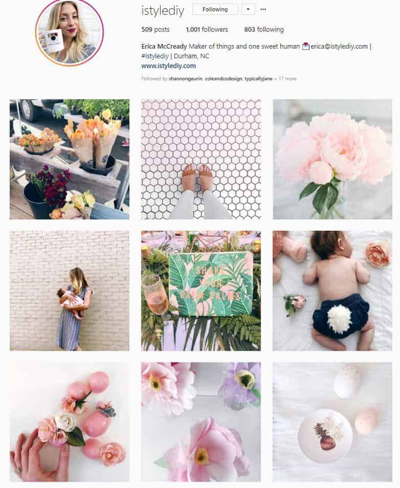 Screenshot of Instagram photo with lots of pink and white colors