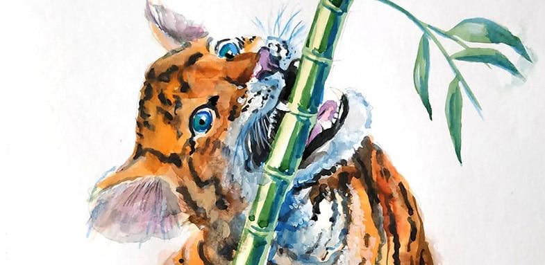 как рисовать тигренка акварелью