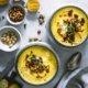 Pikante Gelbe Bete Suppe mit Chorizo-Mandel Topping