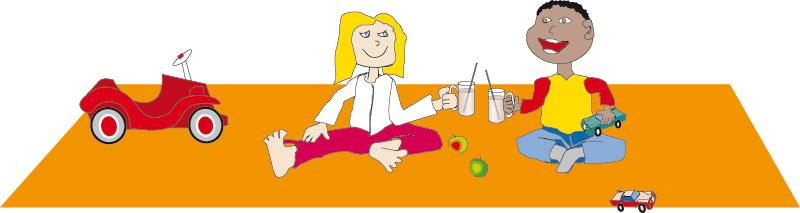 Illustration - Zwei Kinder sitzen zusammen und trinken um sie herum Bobbycar und Spielzeug