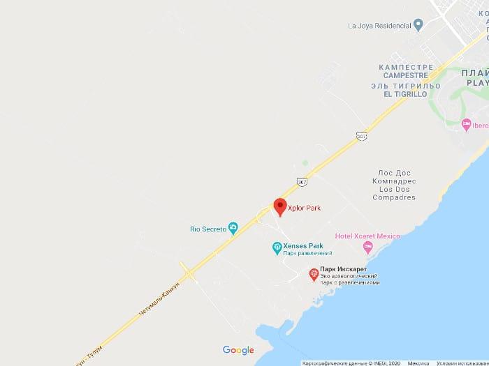 Парк Эксплор на Гугл карте