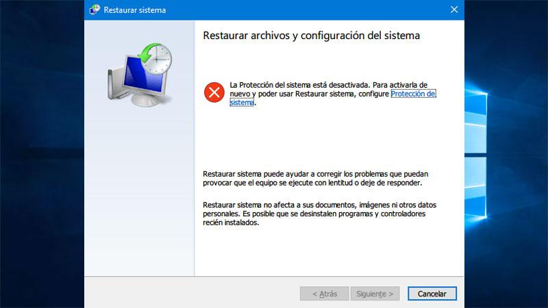 Como activar restaurar sistema en windows 10