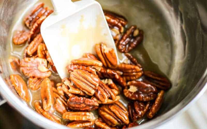 pecans in praline mixture ready to set