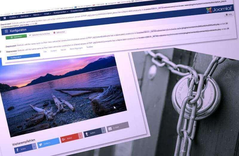 Sicherheit, Fehlermeldung, SocialMedia-Buttons