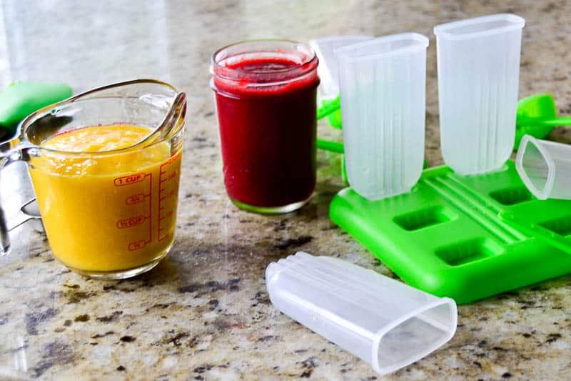 dRaspberry Mango Wine Popsicles: assembling the popsicles