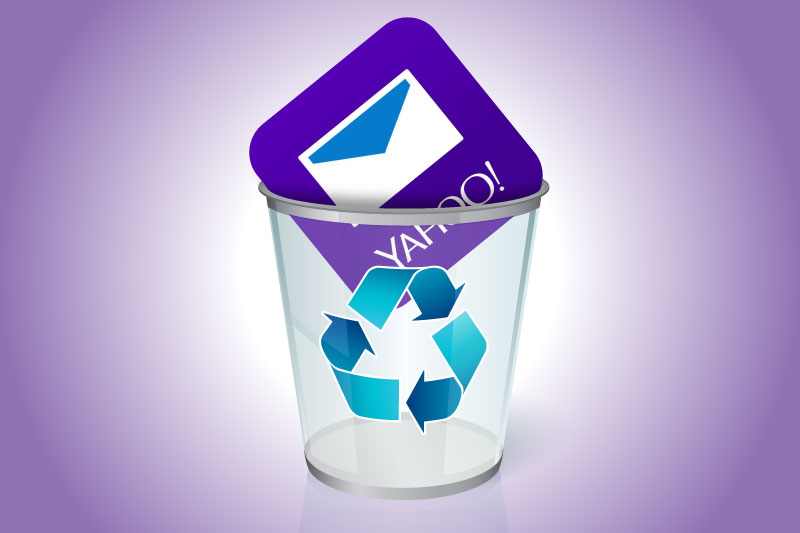 How to delete your Yahoo Mail account: A Yahoo Mail icon in a trash can.