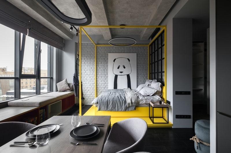 vivienda moscu pisos rusos decoración materiales raw ladrillo visto decoración hormigón decoración decoración pisos pequeño decoración moderna contemporánea decoración en grises