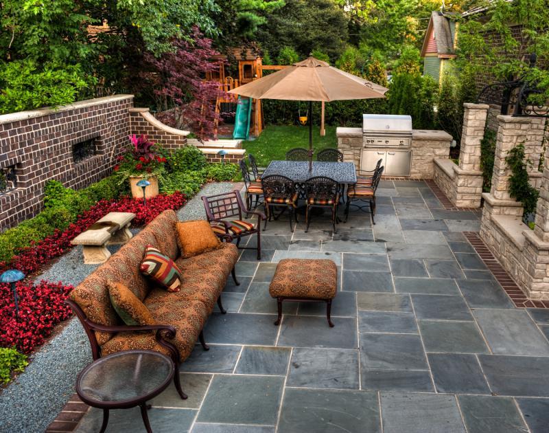 Stone Brick Patio floor job - Landwork Contractors Inc.