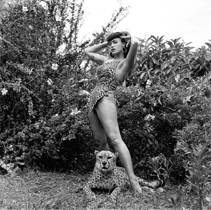 La llamada de la selva. Bettie Page y una amiga felina en 1954.