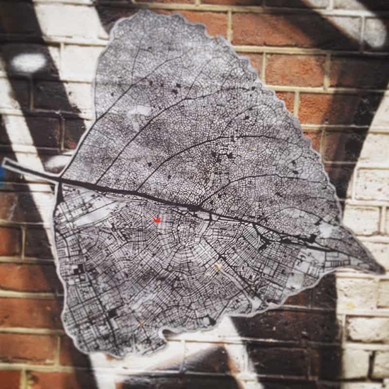 Nils Westergard pasted map on a Linden leaf outline, 2015.