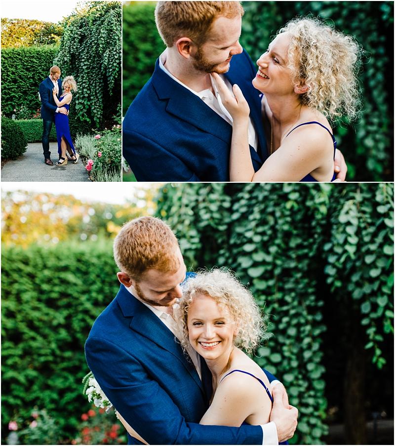 engagement session wedding photographer captured couple in Glencoe Botanic Garden