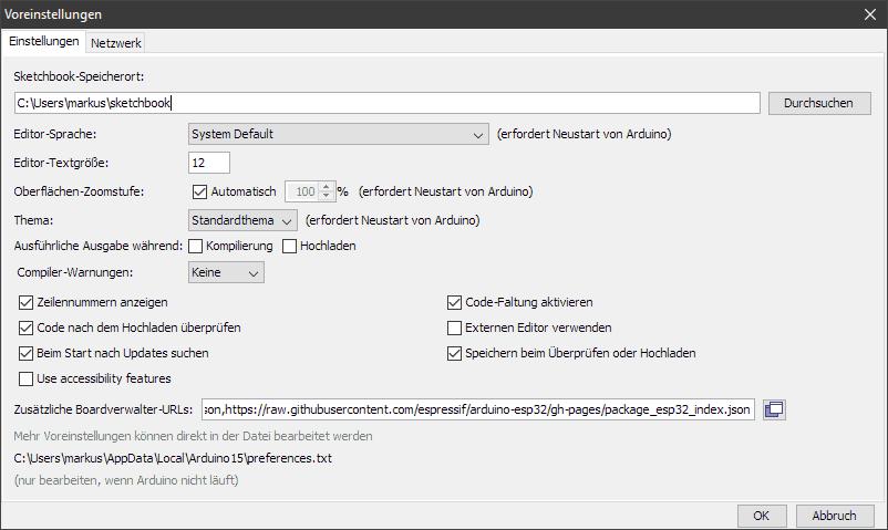 Zusätzliche Board-Verwalter URLs in der Arduino IDE eintragen