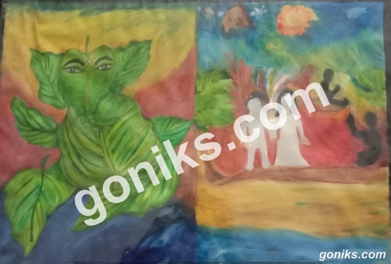 Ganpati Leaves Painting