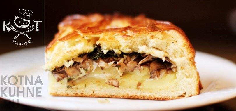 Рыбный пирог с фаршем и картофельным пюре (на сметане)