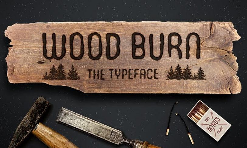 darmowy font wypalany wdrzewie
