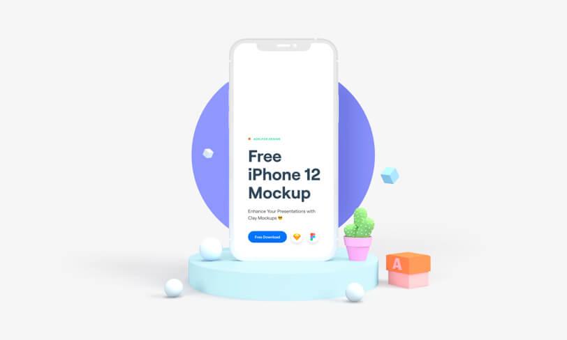 Free iPhone 12 Clay Mockup – Sketch + Figma