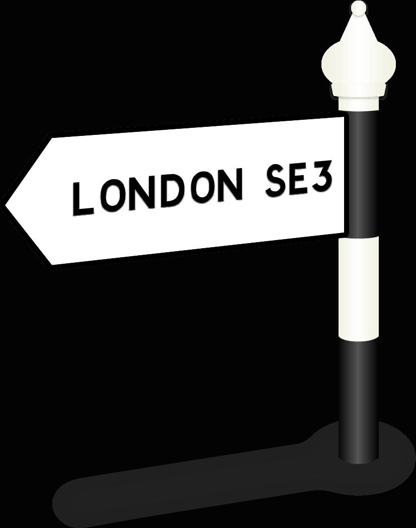 London SE3 Road Sign