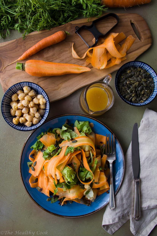 Σαλάτα με Καρότα,Ρεβίθια, Κολοκυθόσπορο, Ιπποφαές & Μαροκινό Dressing - Carrot and Chickpea Salad, with Pumpkin Seeds, Sea Buckthorn & Moroccan Dressing