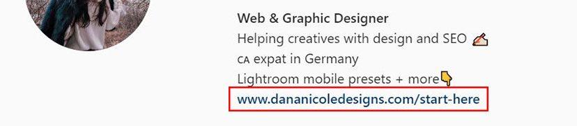 Screenshot of instagram bio with a link
