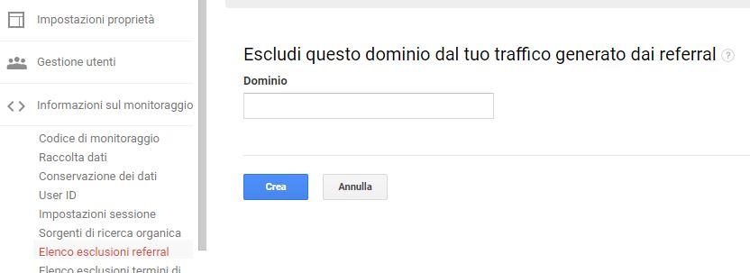 Google Analytics - esclusione multi-domino dai referral