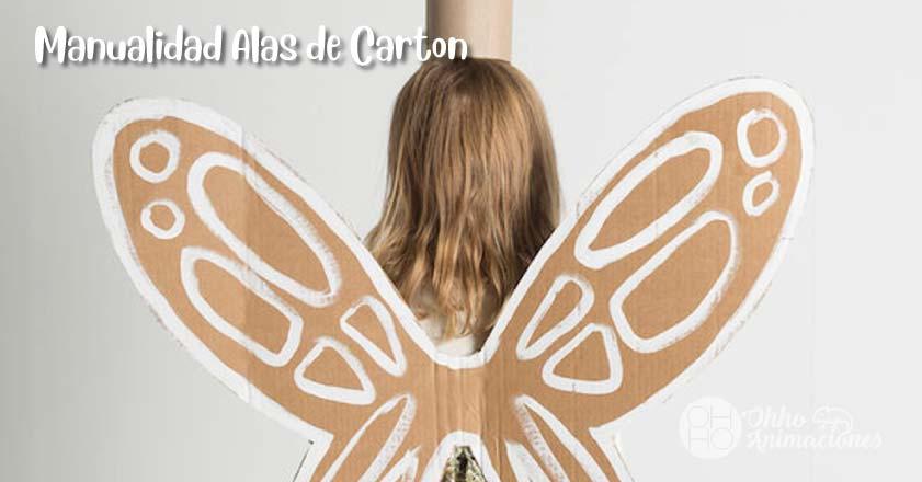 Manualidad alas de cartón con material reciclado