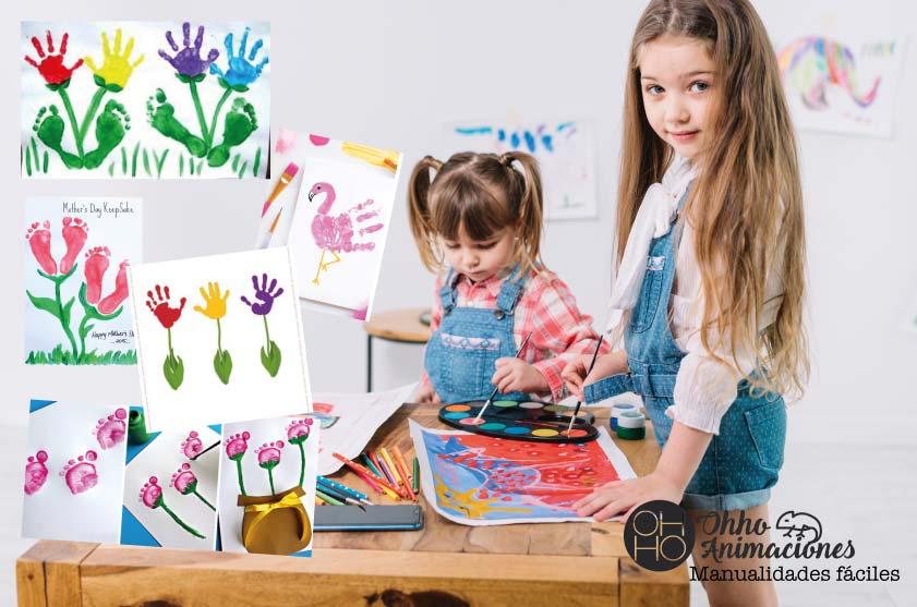 Manualidades flores pinturas con pies y manos