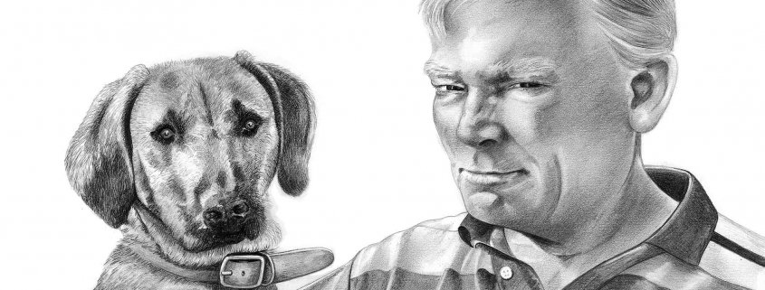 Pencil Portrait of Man with Dog