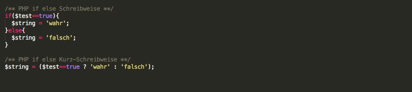 PHP if else (Kurz-) Schreibweise