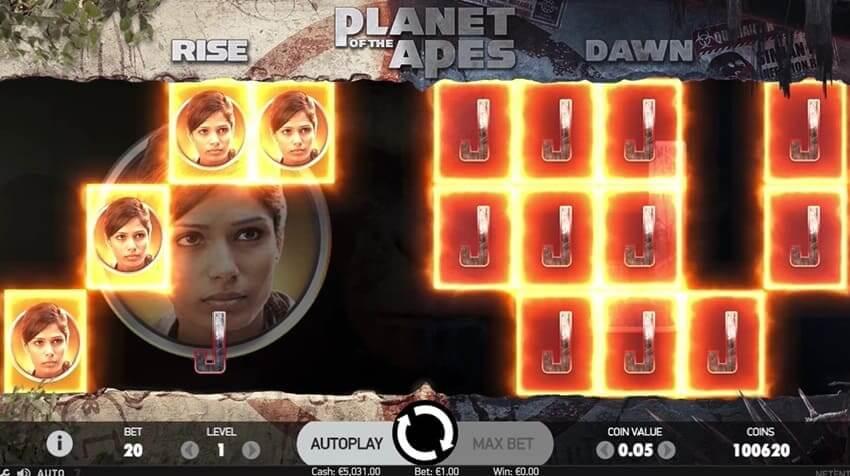 Dobbelt-funktionen i Planet of the Apes-automaten er en ekstra funktion i NetEnts nye online spilleautomat