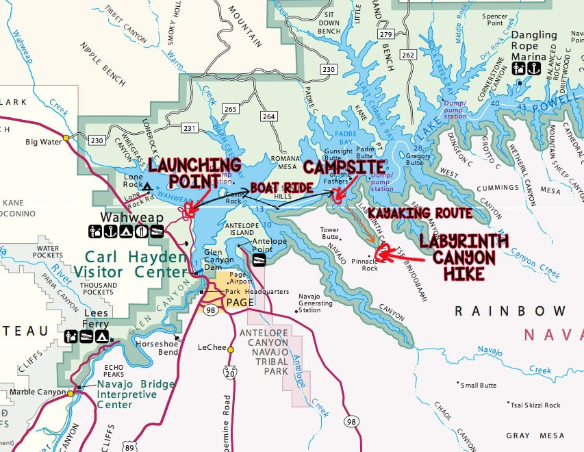 Map of my kayaking route to Lake Powell's Labyrinth Canyon
