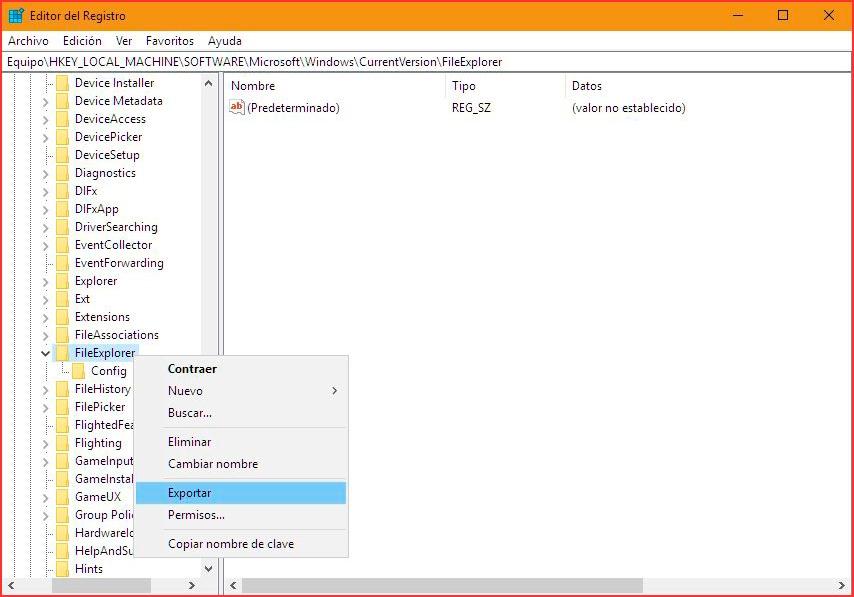 Copia de seguridad clave Registro de Windows