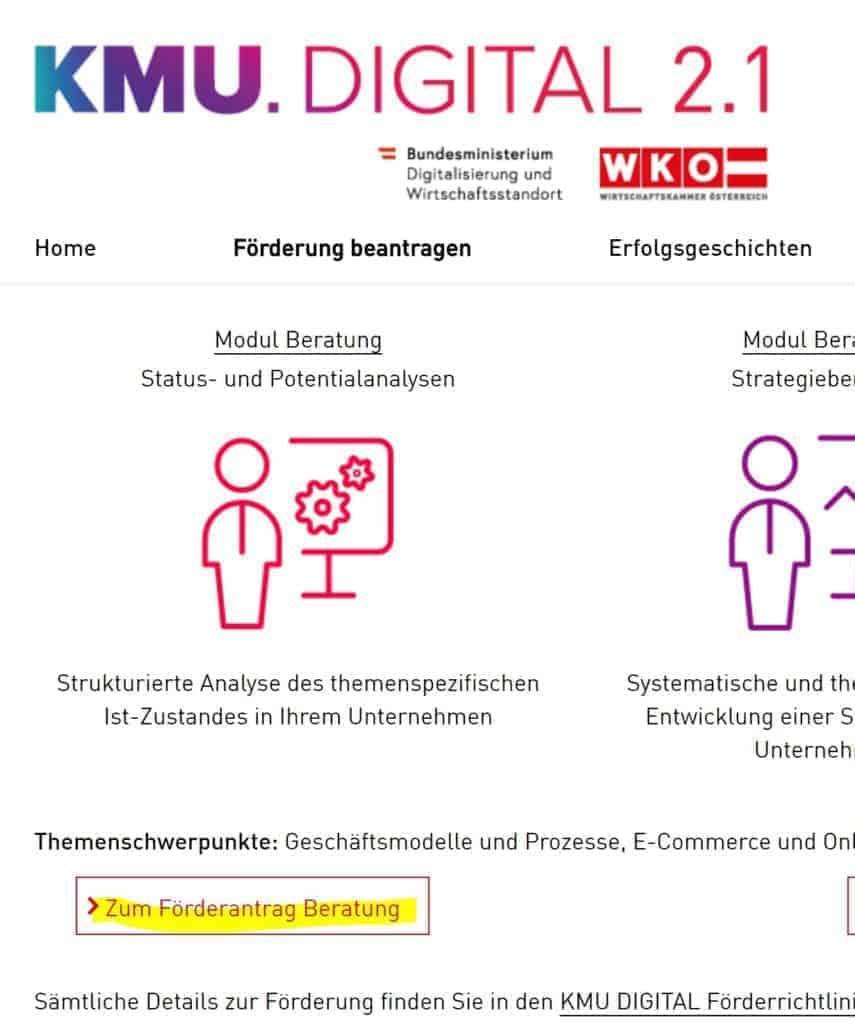KMU Digital Förderungen beantragen Beratung