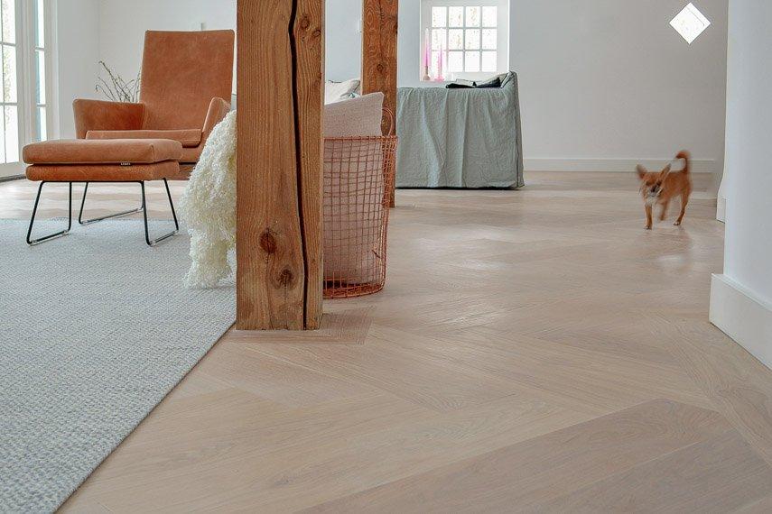 Moderne witte visgraat vloer