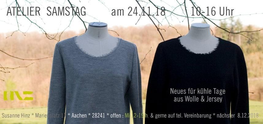 Atelier-Samstag am 24.11.18 - Neues für kühle Tage aus Wolle & Jersey