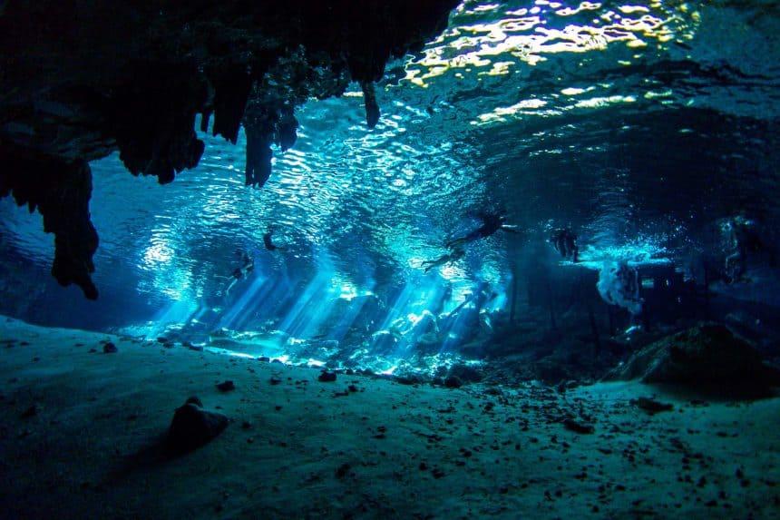 Scuba diving Cenote Dos Ojos, Yucatan Peninsula, Mexico