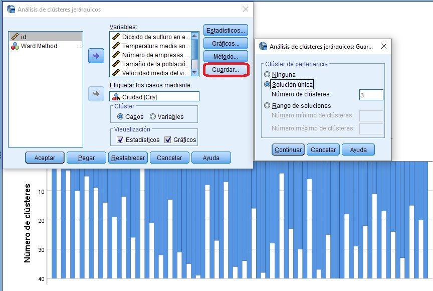 Conservar 3 clusters en análisis de conglomerados
