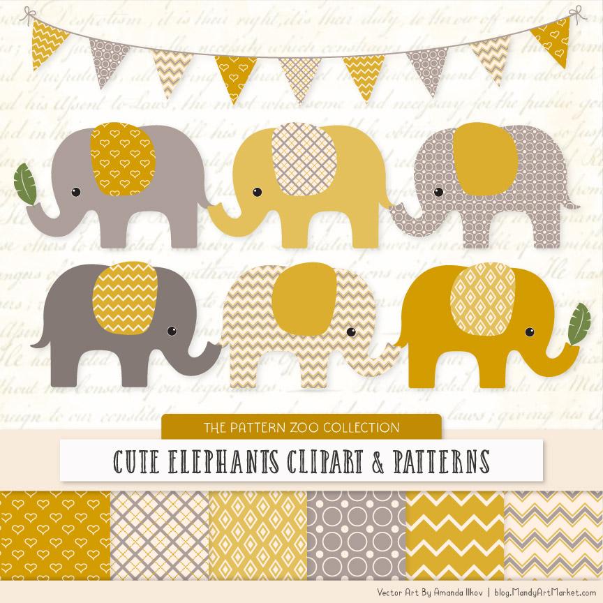 Mustard Patterned Elephant Clipart & Patterns