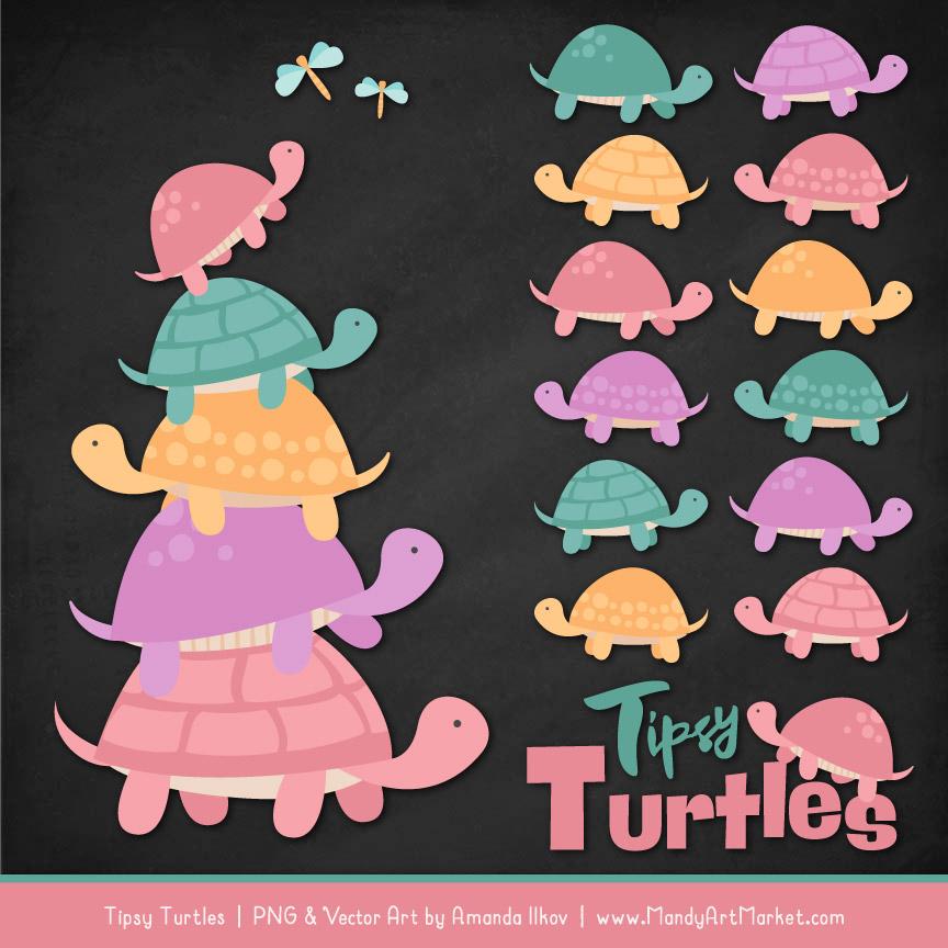 Garden Party Turtle Stack Clipart Vectors